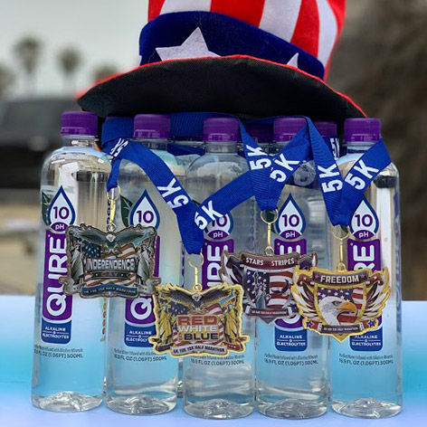 QURE 10pH Alkaline Water sling with 5k Medals for Marathoners top 3