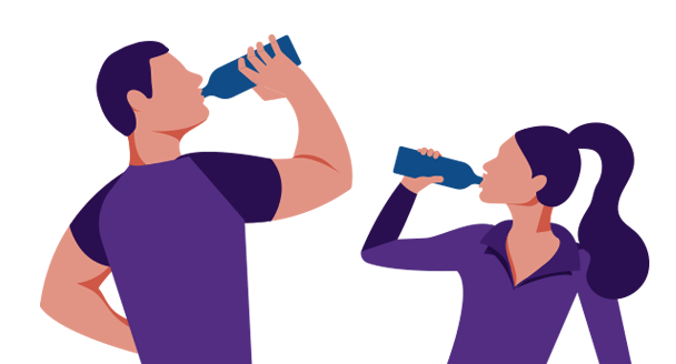 Couple Drinking Alkaline Water