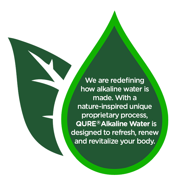 QURE Water green water drop icon with text