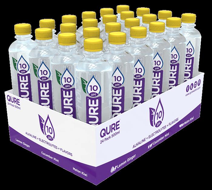 QURE Water Lemon Ginger 24 bottles Tray