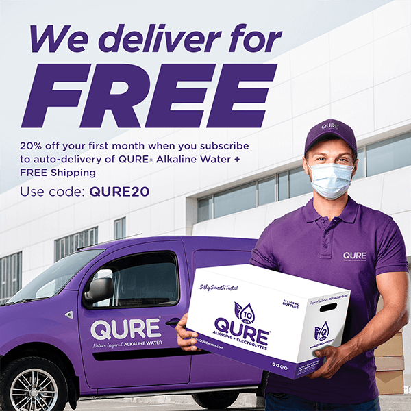 Free Delivery Ad | QURE Alkaline Water